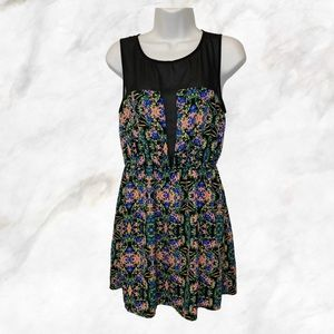 Colorful Sheer Top Section Sleeveless Summer Dress